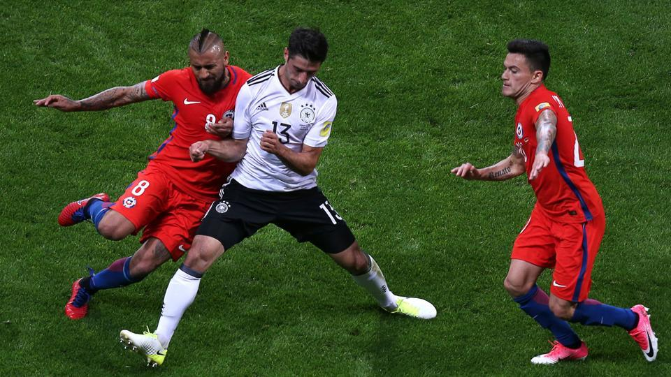 Germany and Chile drew 1-1 in a FIFA Confederations Cup group B match at the Kazan Arena on June 22.