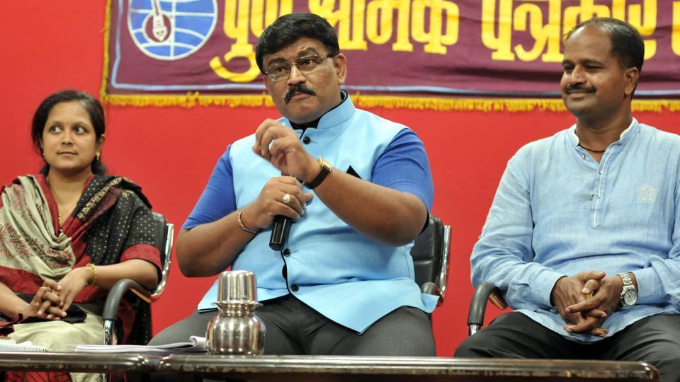 Surendrakumar Mankoskar, additional commissioner, central excise addresses the press on GST at Patrakar Sangh on Saturday.