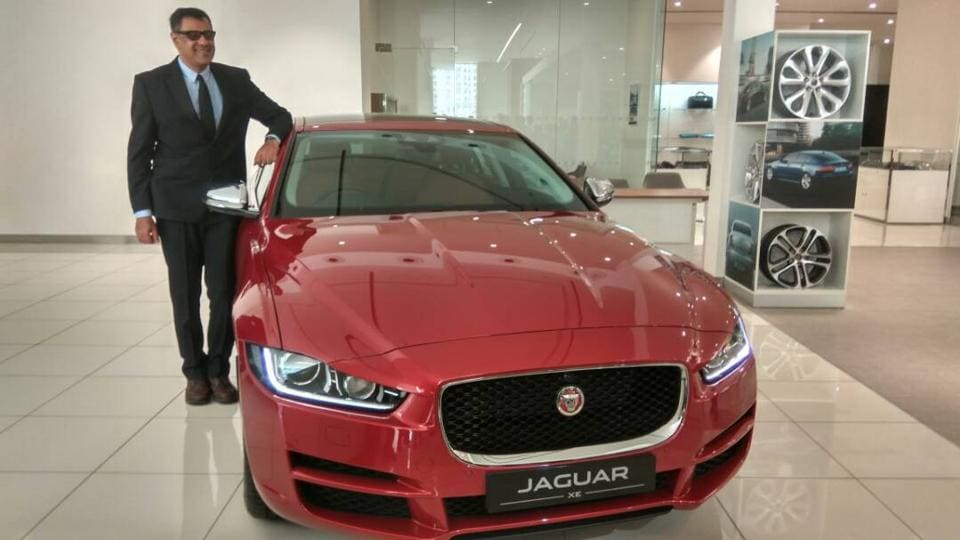 Jaguar Land Rover India president Rohit Suri with the new Jaguar XE diesel at the company showroom in New Delhi.