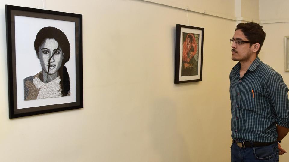 Pallavi Dalvi's art work displayed in Ravi Paranjape's gallery in Model Colony on Friday.