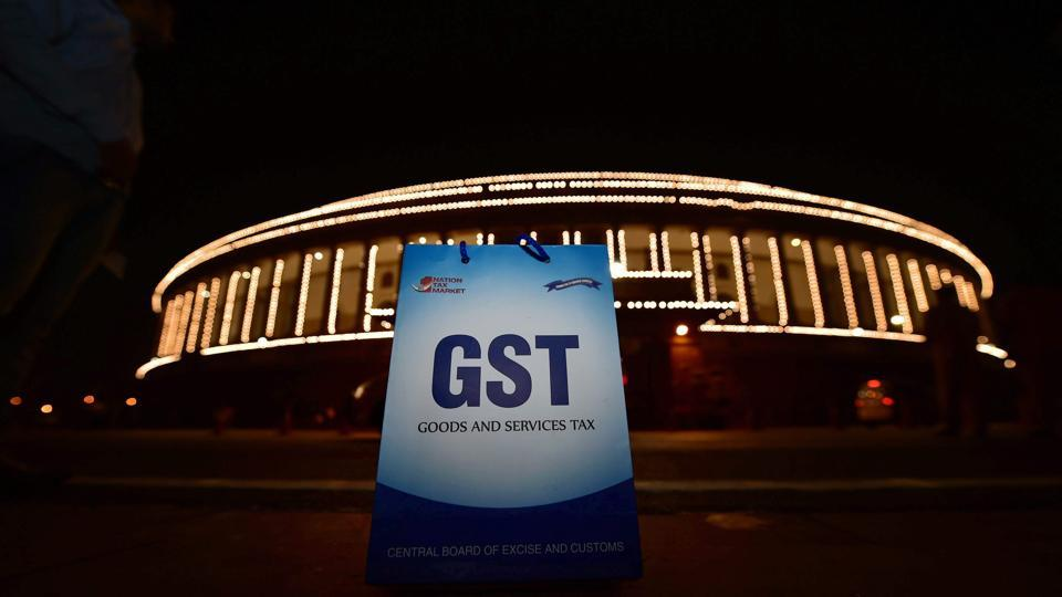 An illuminated Parliament ahead of the midnight launch of 'Goods and Services Tax (GST)' in New Delhi on Saturday.