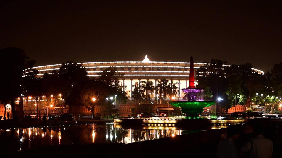 Parliament is seen illuminated during the launch of 'Goods and Services Tax (GST)' in New Delhi on Saturday.