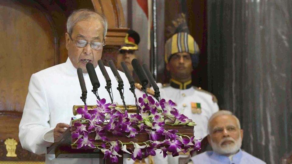 President Pranab Mukherjee addresses the special ceremony in the Central Hall of Parliament for the launch of 'Goods and Services Tax (GST)', in New Delhi on Friday.