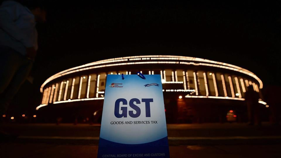 An illuminated Parliament ahead of midnight launch of 'Goods and Services Tax (GST)' in New Delhi.
