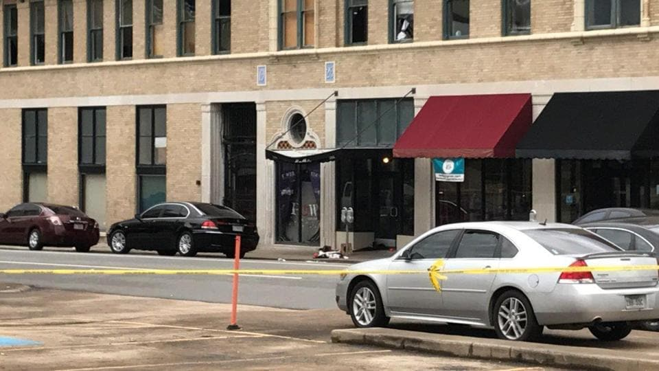 The entrance of an Arkansas nightclub where police are investigating a shooting is cordoned off with police tape on July 1.