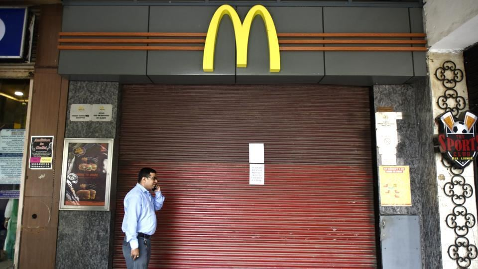 43 McDonald's outlets  shut down in New Delhi, India. (Ravi Choudhary / HT Photo)