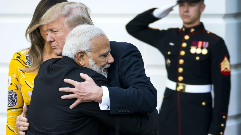 President Donald Trump embraces Prime Minister Narendra Modi during the latter's visit, at the White House in Washington D.C,  United States. (Doug Mills / NYT)