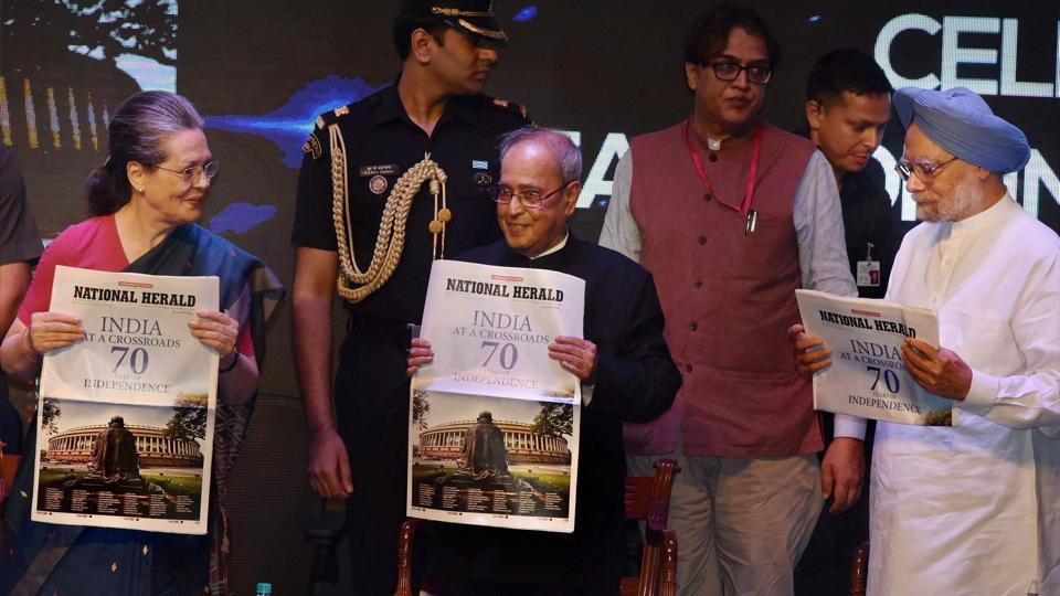 President Pranab Mukherjee, former prime minister Manmohan Singh and Congress president Sonia Gandhi release commemorative publication of National Herald at a function in New Delhi on July 1.
