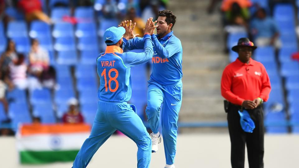 Kuldeep Yadav celebrates Roston Chase's wicket during the third ODI of the five-match series against the West Indies in Antigua. Get full cricket score of India vs West Indies 3rd ODI here