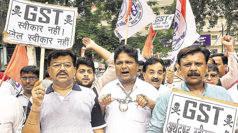 Traders in Lucknow protest against GST which came into effect from July 1 midnight.