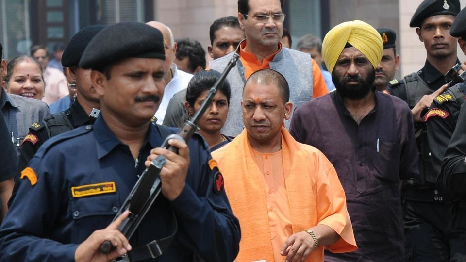 Chief minister Yogi Adityanath on his way to inaugurate 181 women helpline rescue van in Lucknow on June 24.