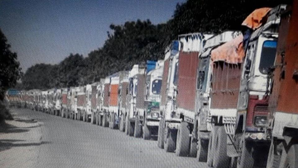 Trucks stranded at Mahadipur land port as the customs department's computers were not upgraded as per GST requirements.