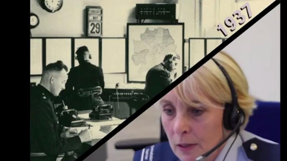 A screengrab from a video posted on Metropolitan Police Service Facebook page shows contrasting images of how the helpline service has evolved over the years.