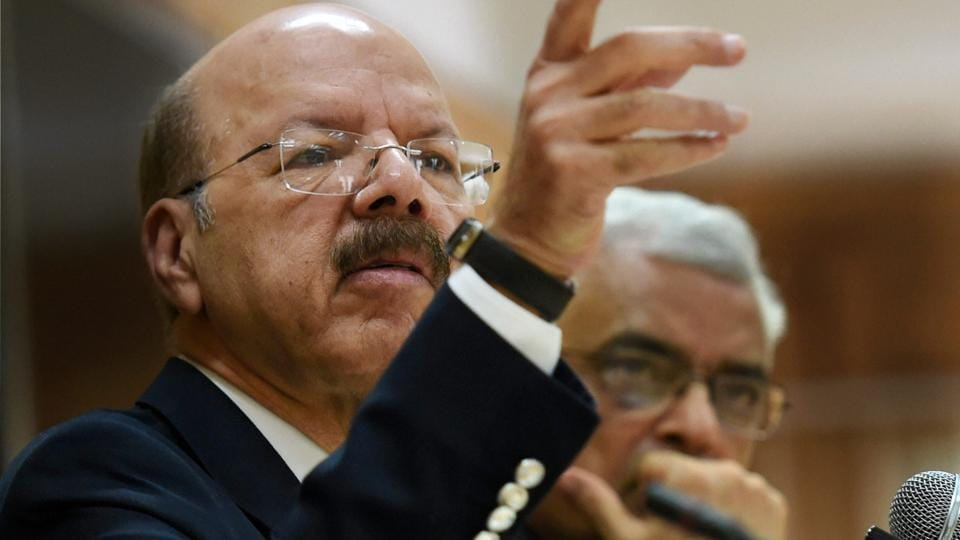 Chief Election Commissioner Nasim Zaidi along with Election Commissioner O P Rawat addresses a press conference announcing the schedule for the upcoming vice president poll, in New Delhi on June 29.