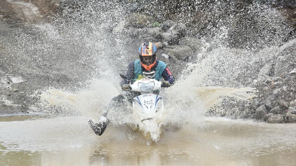 A rider takes part in the Gulf Monsoon Scooter Rally organised by Sportscraft and Gulf Oil Lubricants India Limited. in Navi Mumbai (Anshuman Poyrekar/HT Photo)
