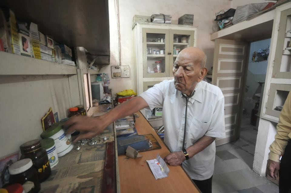 Doctor BP Ghatpande  at his clinic in Pune on Sunday. He is 102.