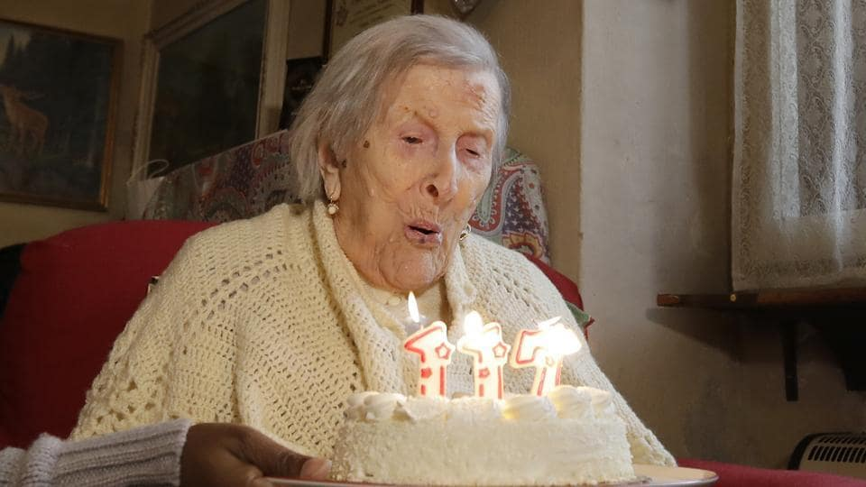 Emma Morano, 117 years old, blowing candles on her birthday. She passed away on  April 15, 2017, in her home in northern Italy.