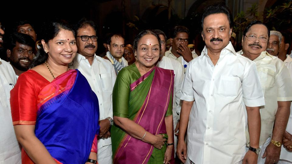 UPA President candidate Meira Kumar being welcomed by DMK working president MK Stalin and his sister Kanimozhi MP during her visit for the campaigning of President Election in Chennai on Saturday.