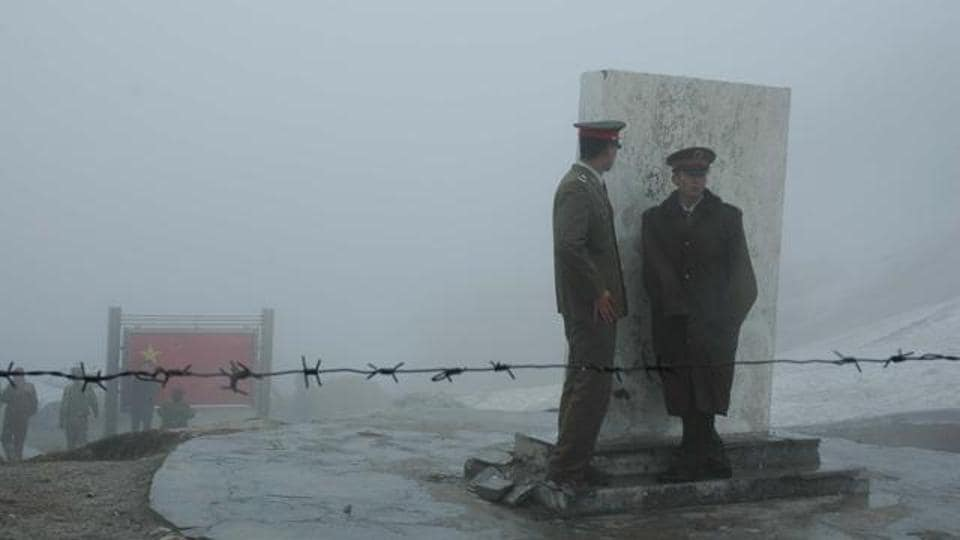 Chinese army at the Nathu La pass. The region is close to where Indian and Chinese soldiers are locked in a face-off over the construction of a road.