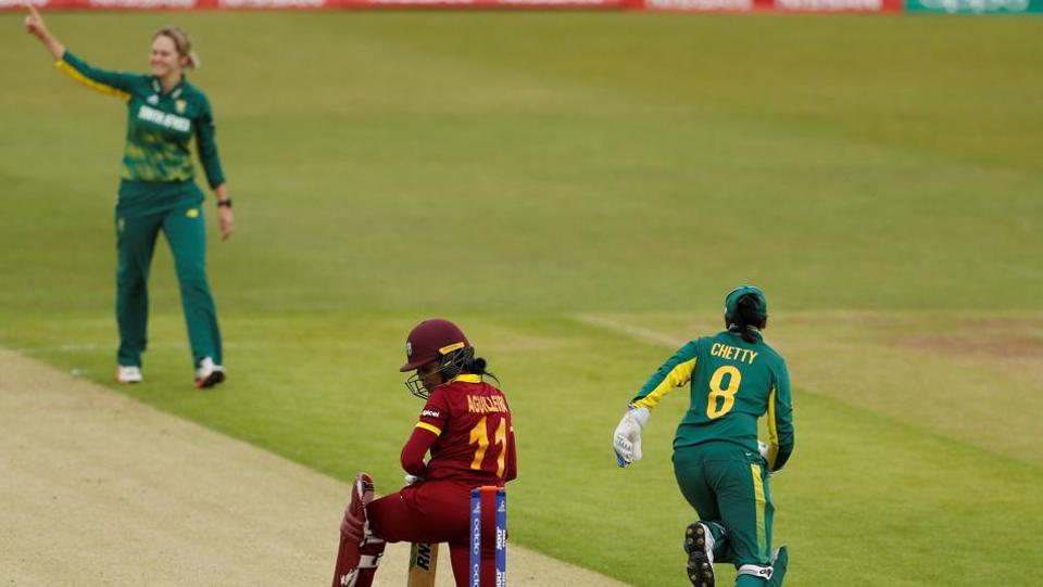 South Africa bundled out the West Indies for the second-lowest total in their history and sixth lowest in the Women's World Cup en route a thrashing 10-wicket win at Leicester.