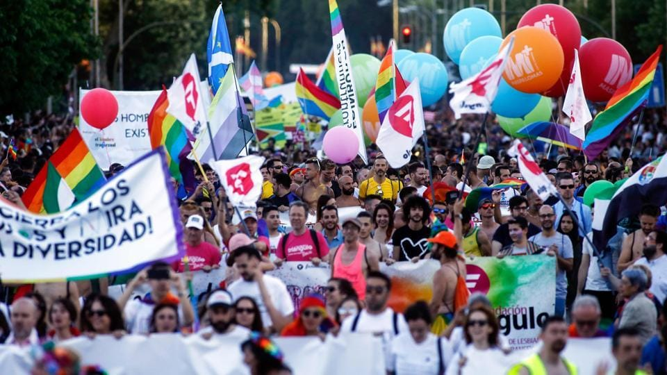 Participants take part in the WorldPride 2017 parade in Madrid on July 1, 2017.
