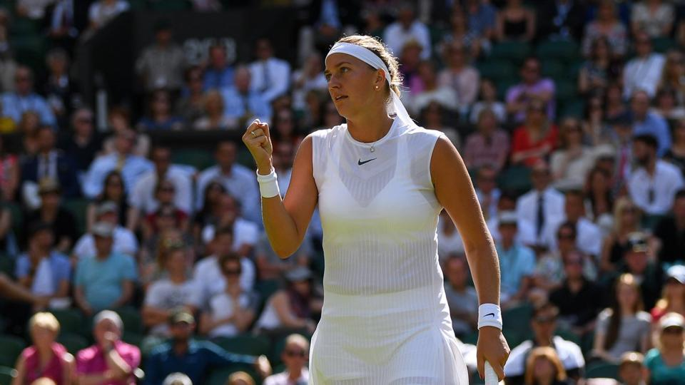 Petra Kvitova beat Sweden's Johanna Larsson 7-5, 7-6(8) to advance into the second round of Wimbledon 2017.