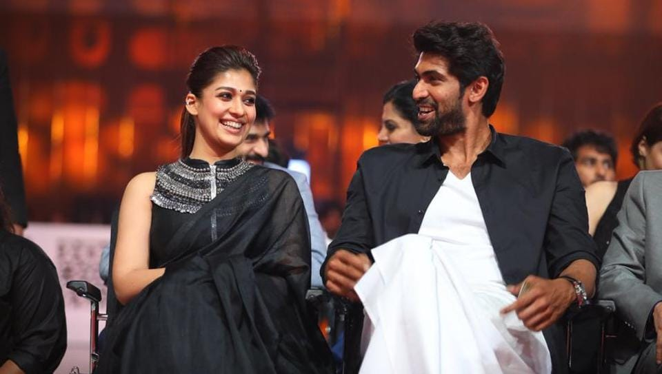 Nayanthara shares a light moment with actor Rana Daggubati.