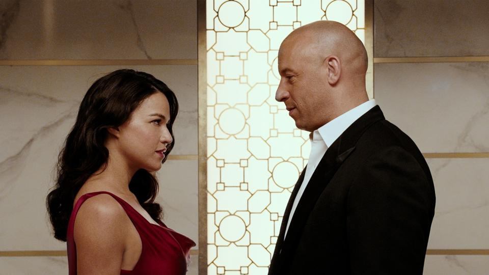 Michelle Rodriguez and Vin Diesel play Letty and Dom in the Fast & Furious series.