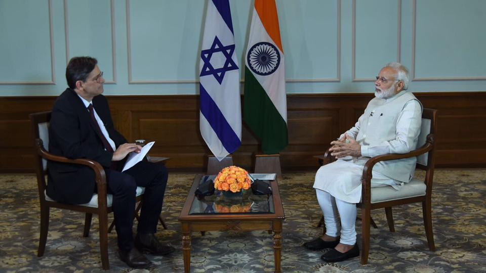 Prime Minister Narendra Modi appears for an interview ahead of his visit to Israel. (Photo courtesy: PMO Twitter)