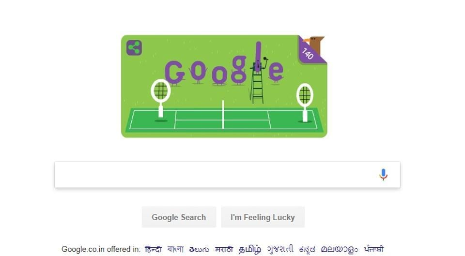The special Google Doodle celebrating the 140th anniversary of Wimbledon.