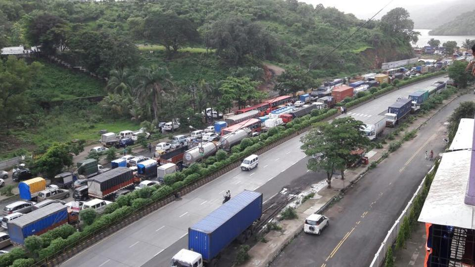 An aerial view of the traffic snarl.
