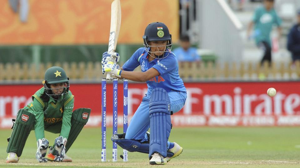 Sushma Verma bats during India's ICC Women's World Cup 2017 fixture against Pakistan. India would go on to win the game by 95 runs.
