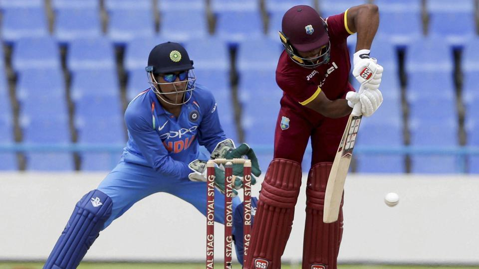 West Indies' batsman Shai Hope plays a shot from the bowling of India's Ravindra Jadeja. (AP)