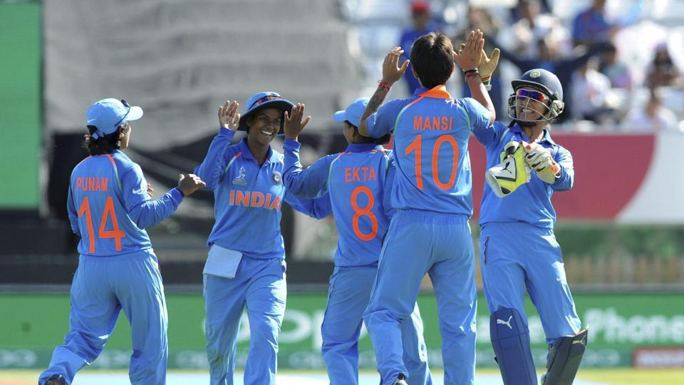 Indian cricketers celebrate after their win over Pakistan in an ICC Women's World Cup match. (AP)