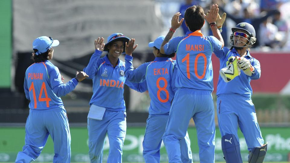 Indian cricketers celebrate the fall of the last wicket Pakistan captain Sana Mir during the ICC Women's World Cup 2017 match.