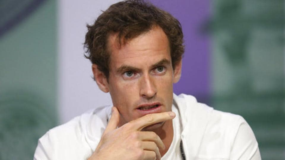 Britain's Andy Murray gives a press conference ahead of the Wimbledon Tennis Championship.