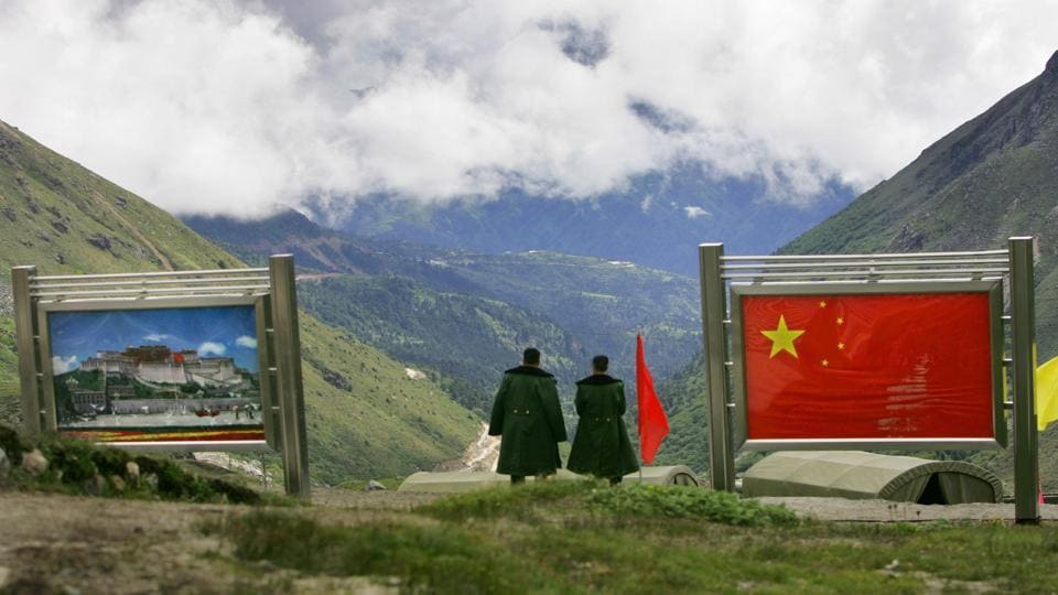Chinese army officers on the Chinese side of the international border at Nathula Pass in Sikkim.