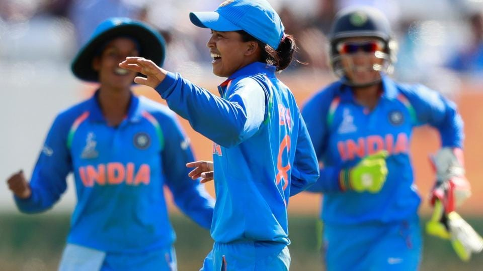 India's Ekta Bisht celebrates taking the wicket of Pakistan's Diana Baig in their ICCWomen's World Cup encounter.