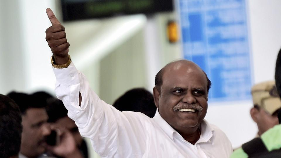 Former Calcutta High Court judge CS Karnan at the airport in Chennai while he was being taken to Kolkata by a team of West Bengal Police.