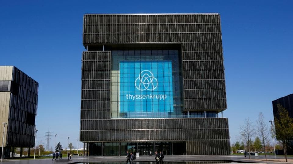 The logo of ThyssenKrupp is seen at the headquarters of the steel maker and multinational conglomerate in Essen, Germany.