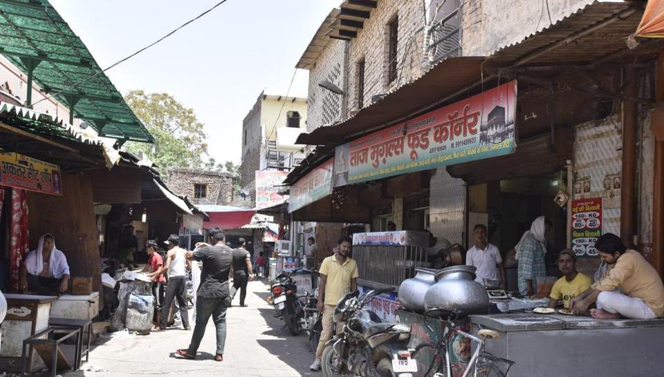 Meat market near Jama Masjid, in Gurgaon.