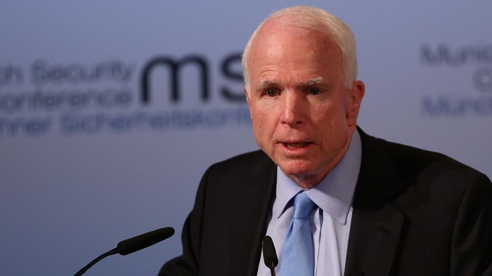 US Senator John McCain speaks at the opening of the 53rd Munich Security Conference in Munich, Germany.