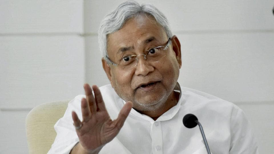 Bihar chief minister Nitish Kumar speaks to the press in Patna on Monday.