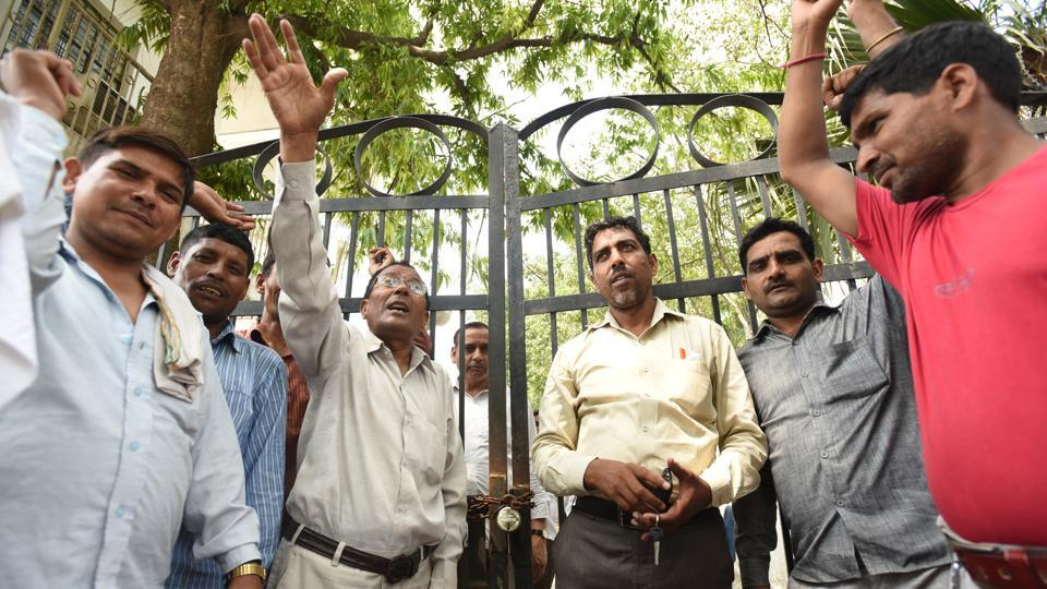 Workers demanding permanent jobs and better wages locked the gates of Noida authority's offices in sectors 5, 19 and 39. However, the main office in Sector 6 was not affected.