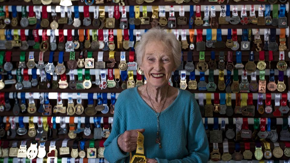 Deirdre Larkin (85), holder of the half marathon world record in the 85+ category, poses in her home in Johannesburg.