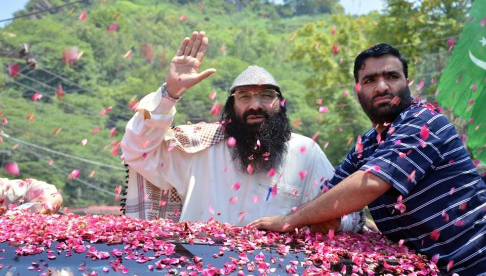 Syed Salahuddin arrives to speak at a news conference in Muzaffarabad in Pakistan-occupied Kashmir on July 1, 2017.