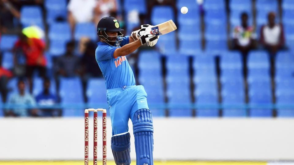 India's Ajinkya Rahane plays a shot during the fourth One-Day International (ODI) against West Indies at the Sir Vivian Richards Stadium in Antigua on July 2.