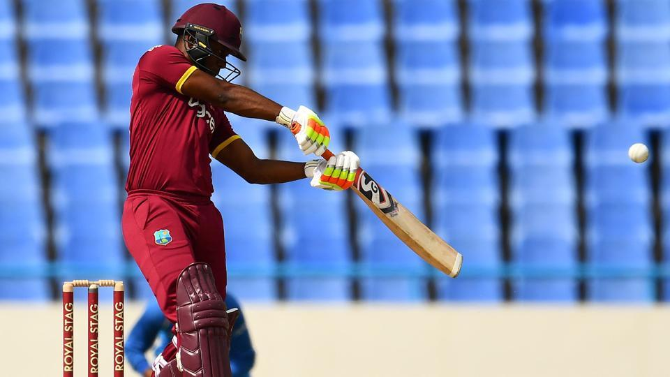 Evin Lewis plays a shot during the fourth One Day International (ODI) match between West Indies and India. (AFP)