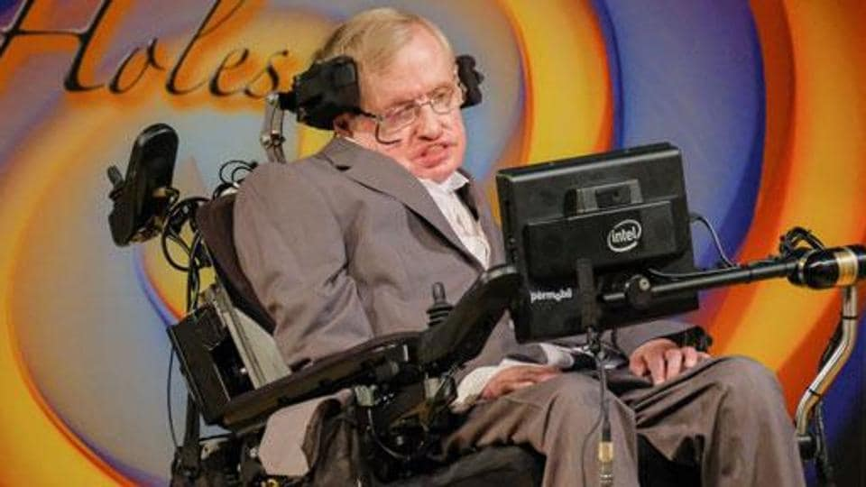 Scientist Stephen Hawking at the event at the Centre for Theoretical Cosmology of the University of Cambridge to celebrate his 75th birthday.