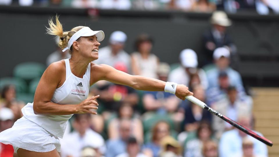 Angelique Kerber beat Irina Falconi 6-4, 6-4 to advance into the second round of Wimbledon 2017.